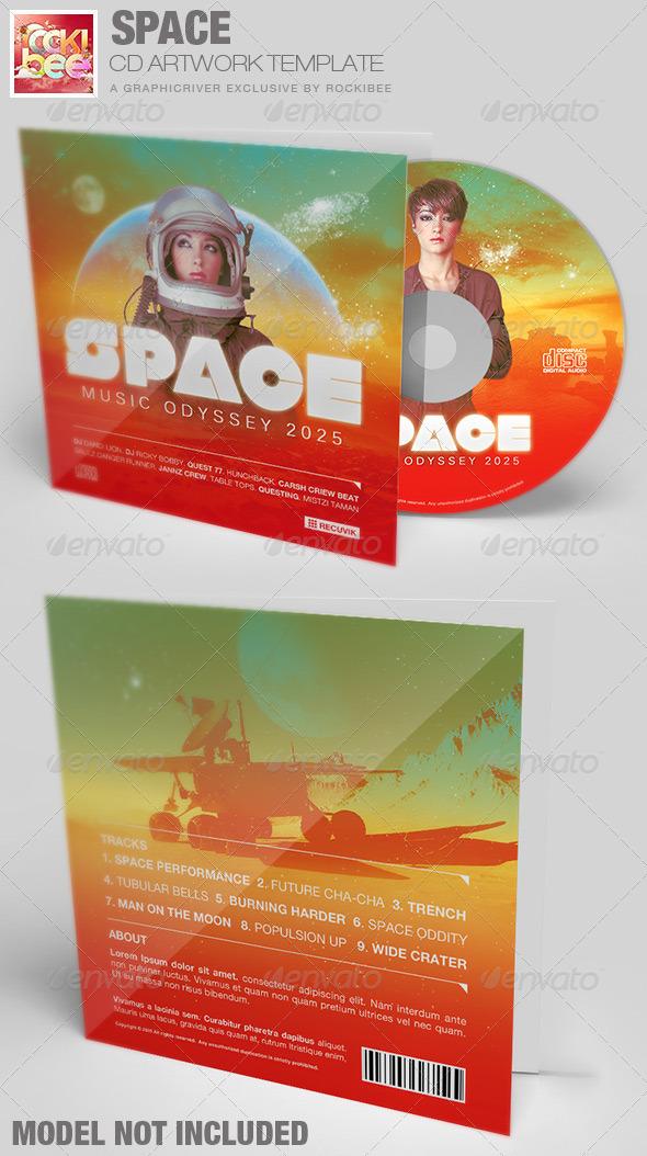 Space CD Artwork Template - CD & DVD Artwork Print Templates