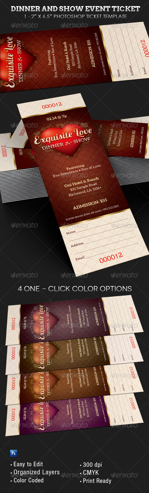 Dinner and Dance Event Ticket Template - Miscellaneous Print Templates