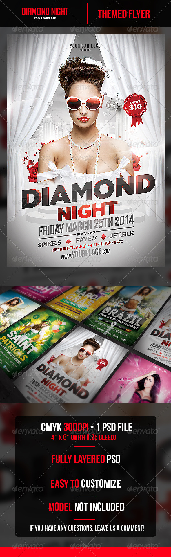 Diamond Night Flyer Template - Clubs & Parties Events