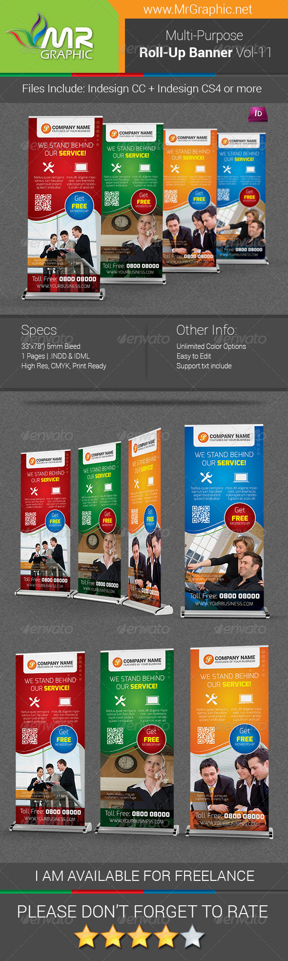 Multipurpose Business Roll-Up Banner Vol-11 - Signage Print Templates