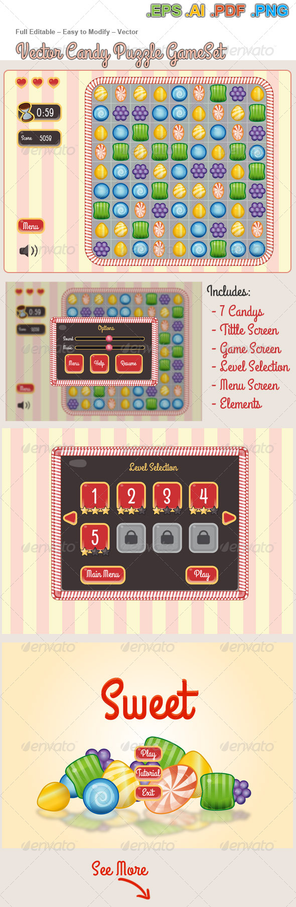 Vector Candy Puzzle Game  KIT - Game Kits Game Assets