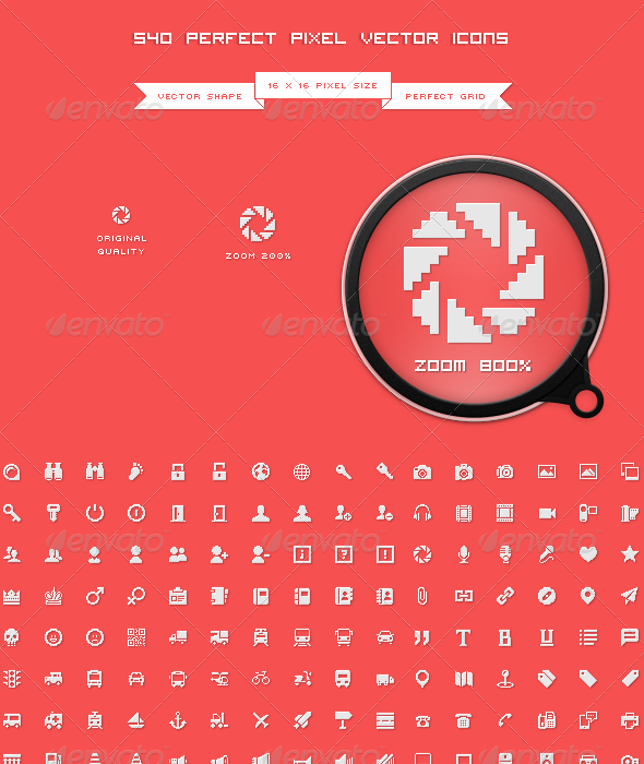 540 Perfect Pixel Icons - Icons