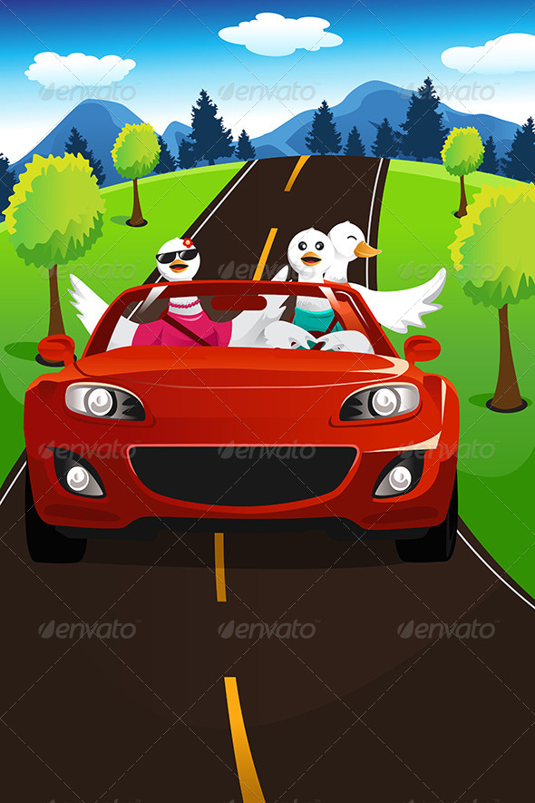 Swans Going on a Road Trip - Animals Characters