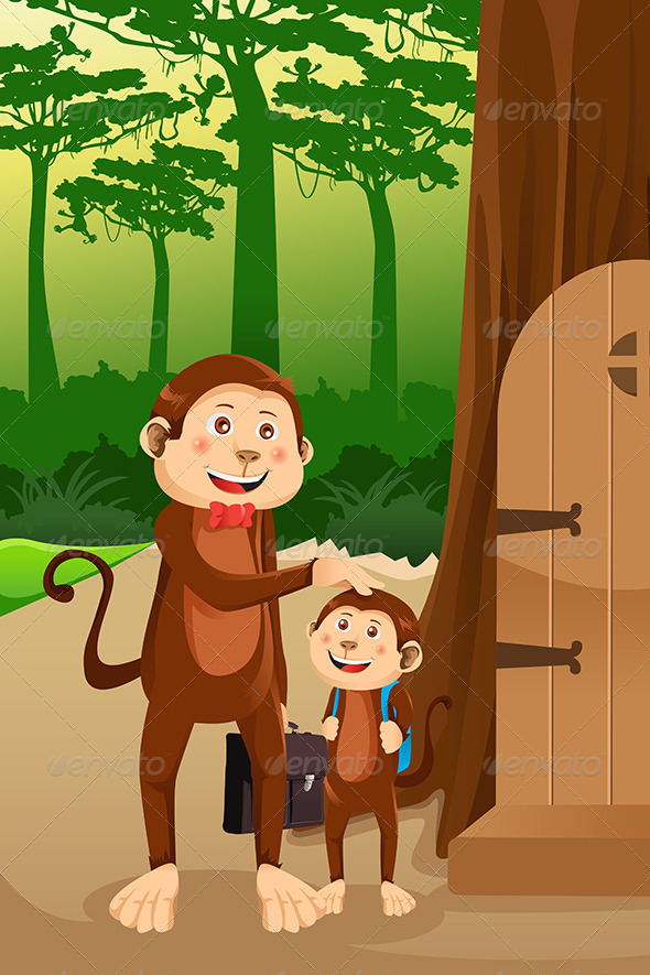 Monkey Father with his Child - Animals Characters