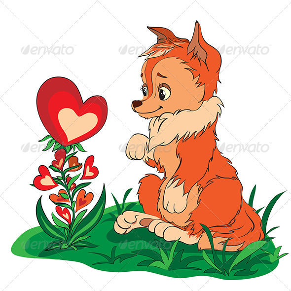 Fox in a Clearing Looking at Flower - Valentines Seasons/Holidays