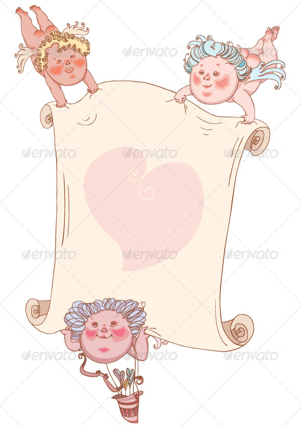 Cupids with Valentine Card - Valentines Seasons/Holidays
