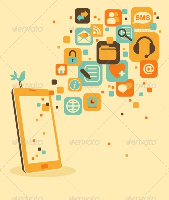Smartphone and Social Media Icons - Communications Technology
