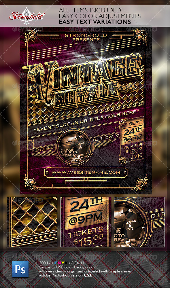 Vintage Royal Gold Event Flyer Template - Flyers Print Templates