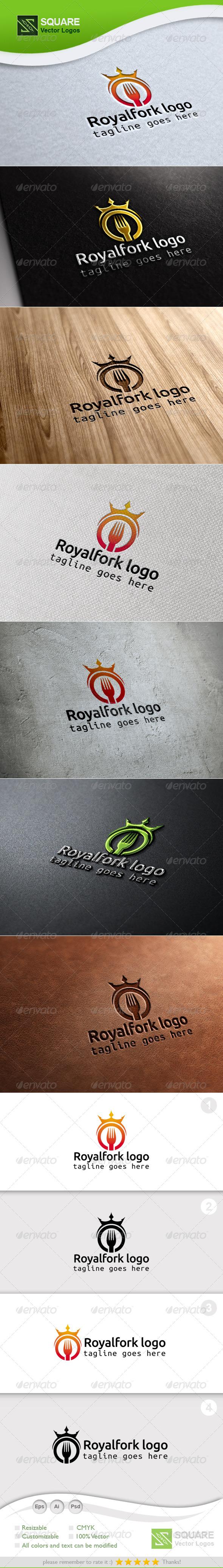 Crown, Fork Vector Logo Template - Food Logo Templates