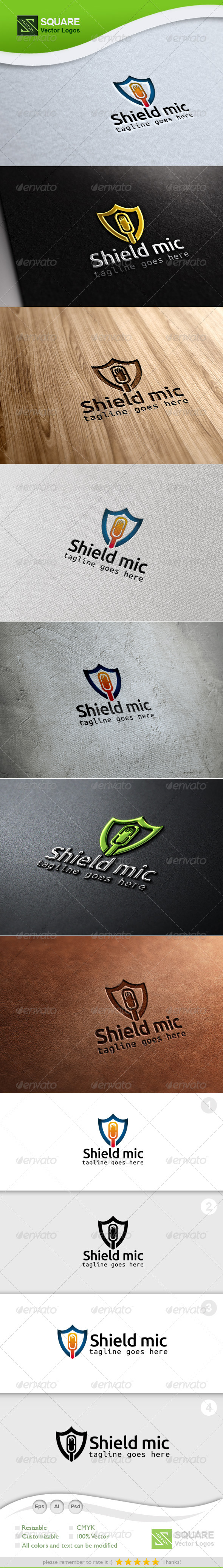 Shield, Mic Vector Logo Template - Symbols Logo Templates
