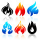 24 Flames of Fire in Set Colored 72 Icons - GraphicRiver Item for Sale