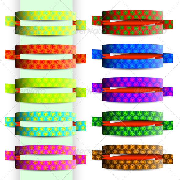 Collection of Colored Ribbons with Circle Texture - Decorative Vectors