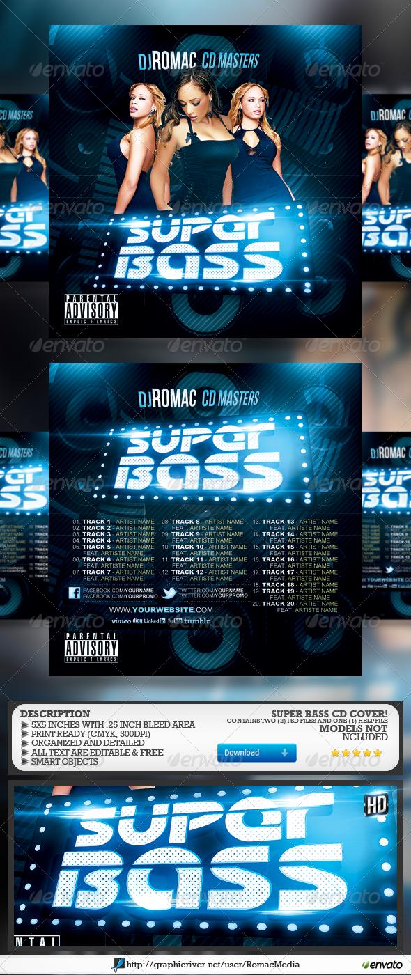 Super Bass CD Cover - CD & DVD Artwork Print Templates
