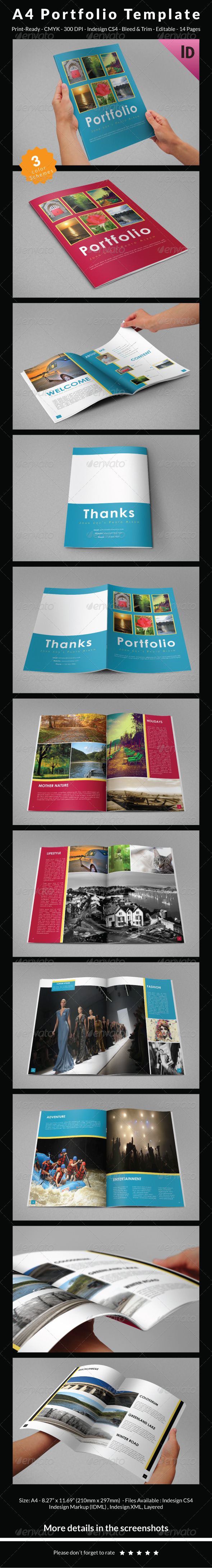 A4 Portfolio Template - Photo Albums Print Templates