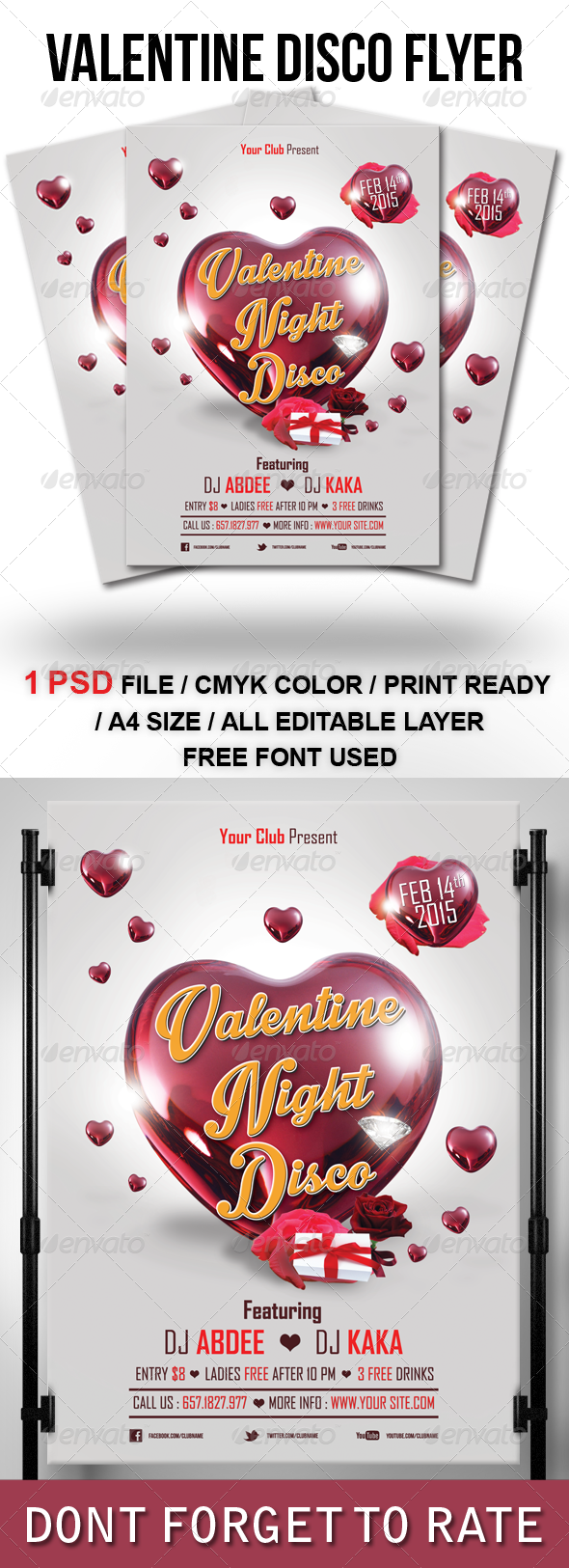 Valentine Night Disco Flyer Template - Clubs & Parties Events