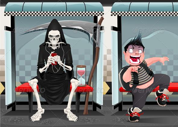 Meetings on the Subway Station. - Halloween Seasons/Holidays