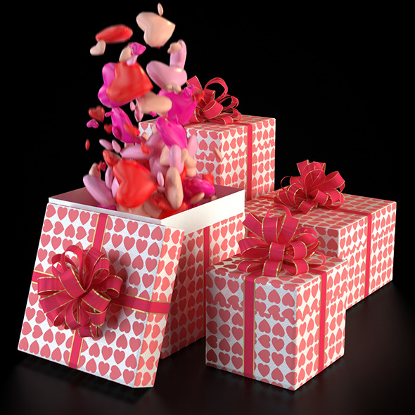 Valentine Gift Box - 3DOcean Item for Sale
