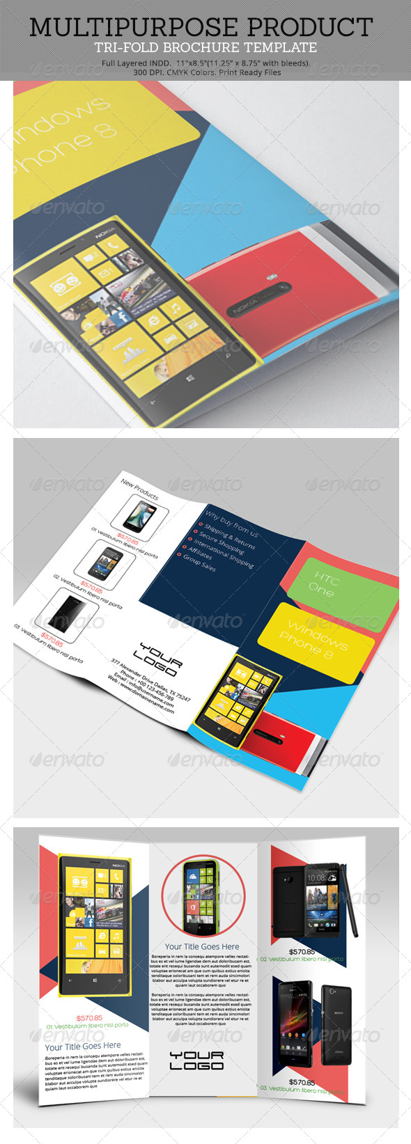 Multipurpose Product Tri-Fold Brochure Template - Brochures Print Templates