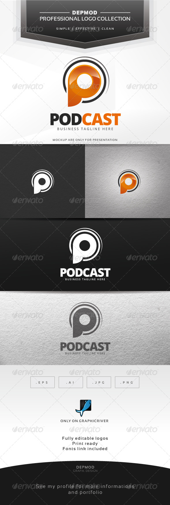 Podcast Logo - Letters Logo Templates