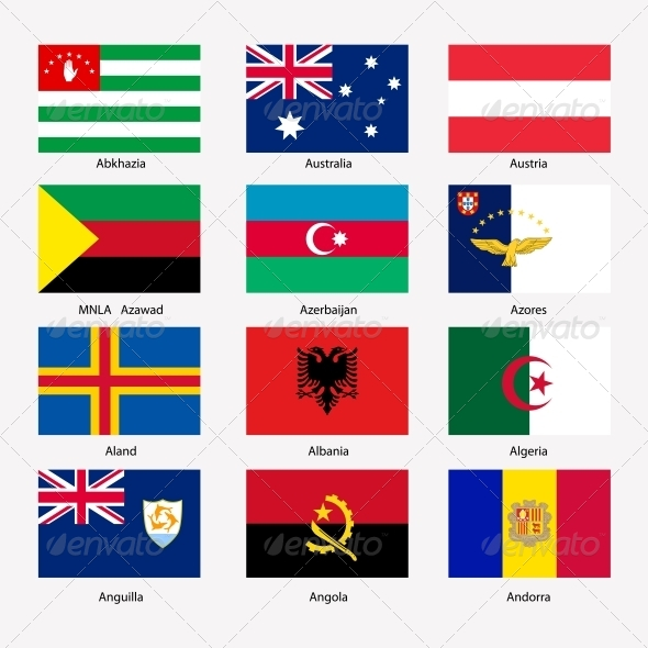 Flags of World Sovereign States Set - Web Elements Vectors