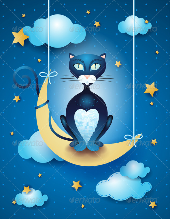 Cat and Moon - Animals Characters