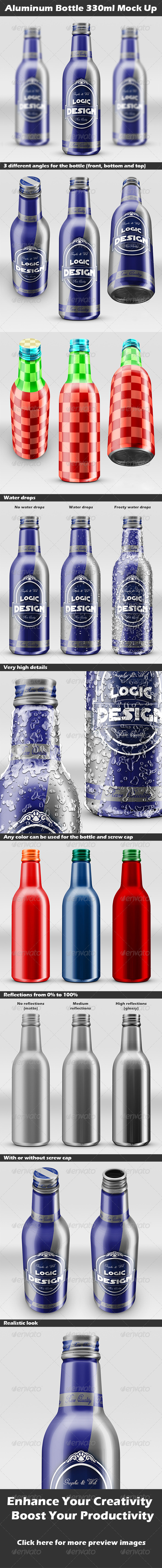Aluminum Bottle 330ml Mock Up - Food and Drink Packaging