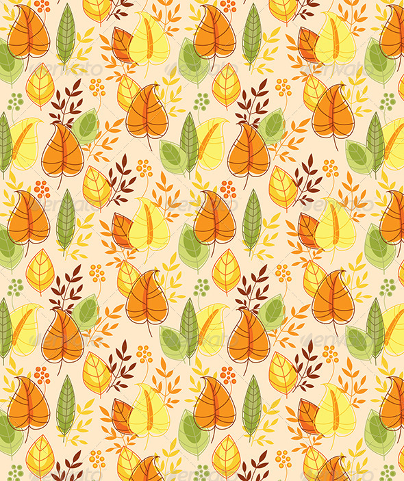 Seamless Pattern with Autumn Leaves - Patterns Decorative