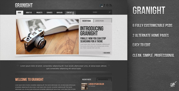 Free Download Granight PSD Web Template Nulled Latest Version