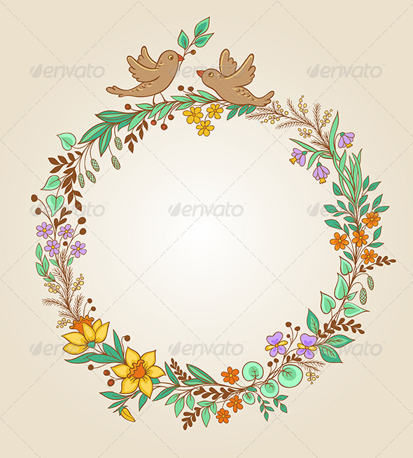 Wreath of Flowers and Leaves - Flowers & Plants Nature