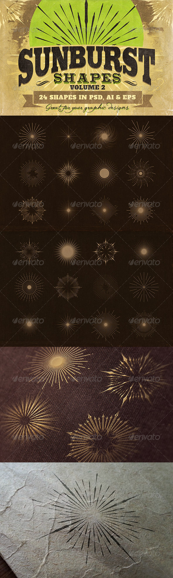 Sunbursts Shapes Vol.2 - Decorative Symbols Decorative