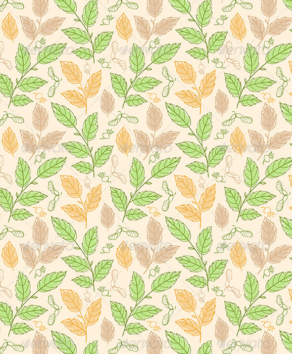 Seamless Pattern with Elm Branches - Patterns Decorative