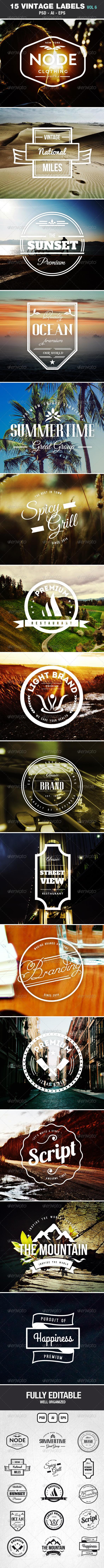 Retro Vintage Labels & Badges Logos V6 - Badges & Stickers Web Elements
