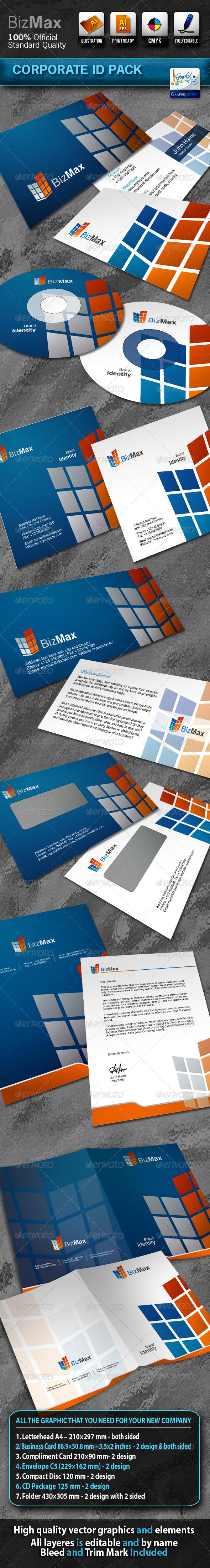 BizMax Business Corporate ID Pack With Logo - Stationery Print Templates