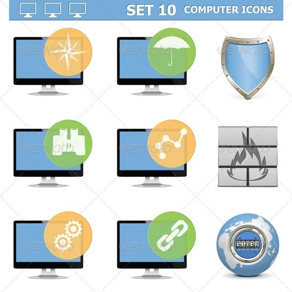 Computer Icons Set 10 - Computers Technology