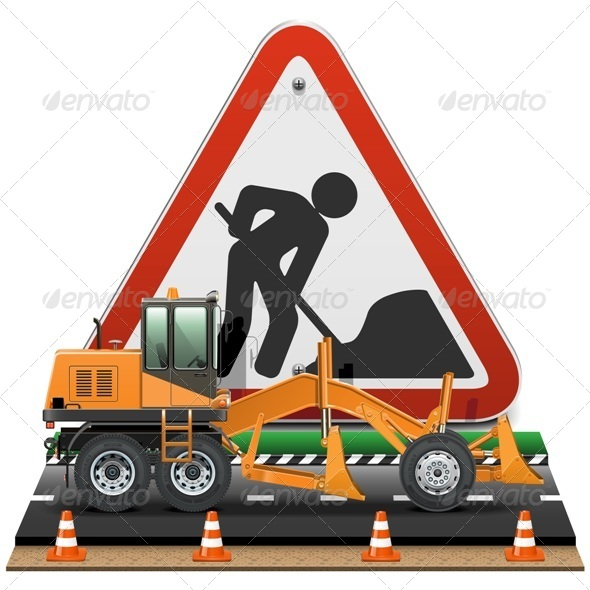 Road Construction Concept with Sign - Industries Business