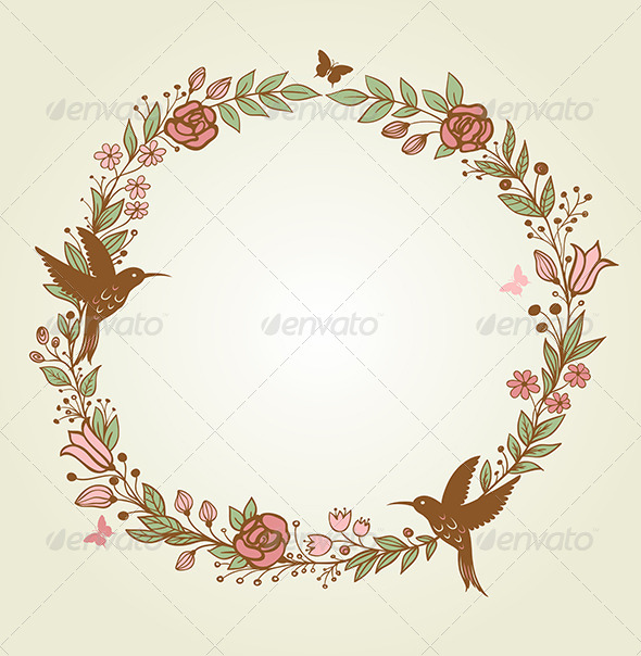 Floral Frame and Birds - Flowers & Plants Nature