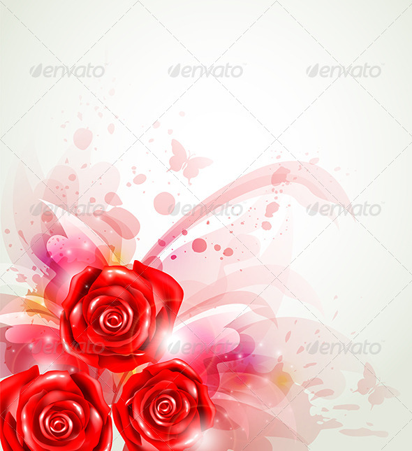 Abstract Background with Roses - Flowers & Plants Nature