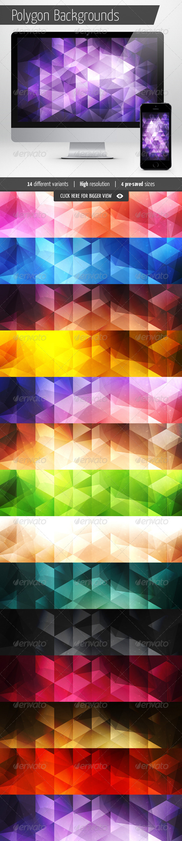 Polygon Backgrounds - Abstract Set - Abstract Backgrounds