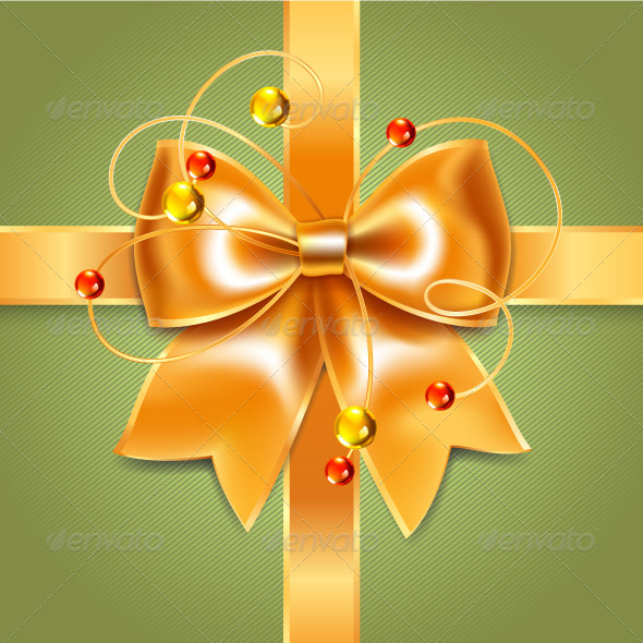 Gold Bow of Silk Ribbon on Green Background - Backgrounds Decorative