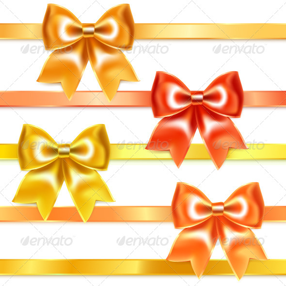 Golden and Bronze Bows of Silk Ribbon - Decorative Symbols Decorative