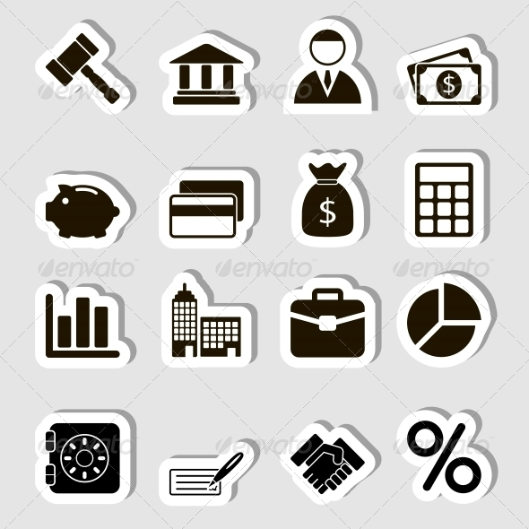 Business Icons Set as Labels - Icons