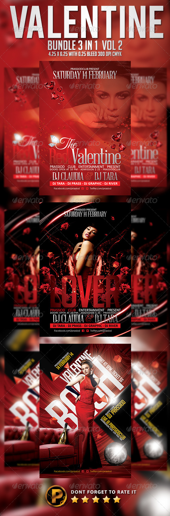 Valentine Flyer Template - Bundle 3 In 1 Vol 2 - Clubs & Parties Events