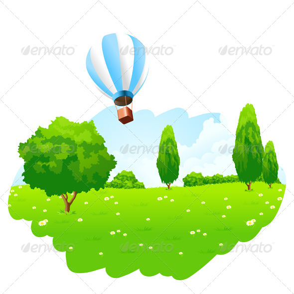 Green Landscape with Hot Air Balloon in the Sky - Landscapes Nature