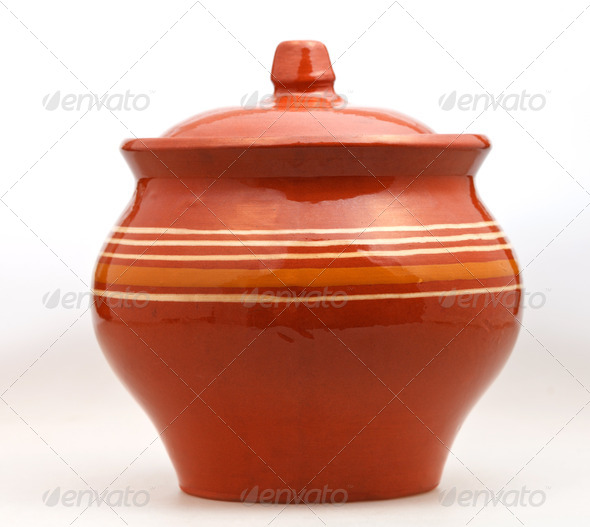 closed earthenware pot on white - Stock Photo - Images