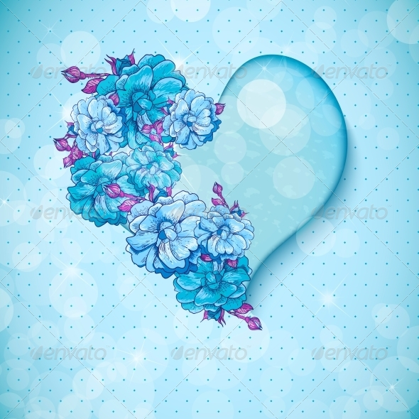 Valentine's Day Floral Background with Hearts - Backgrounds Decorative