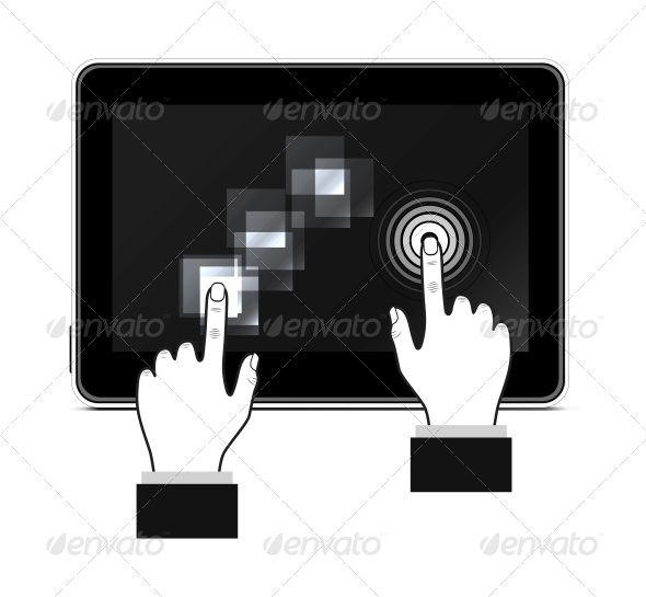 Hand Touching Screen - Computers Technology