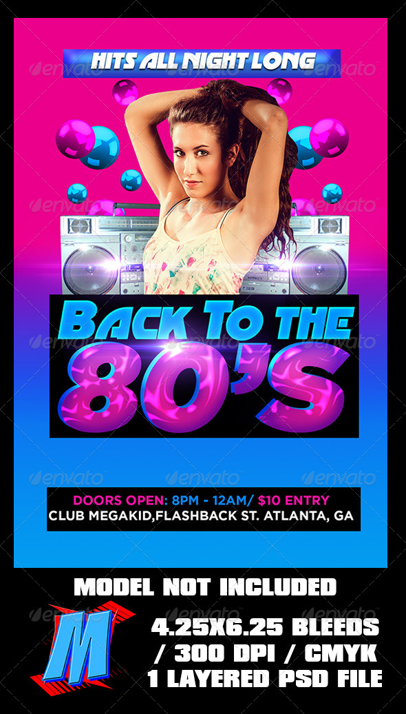 Back To The 80s Flyer Template - Clubs & Parties Events