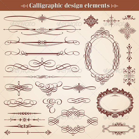 Calligraphic Design Elements And Page Decoration - Flourishes / Swirls Decorative