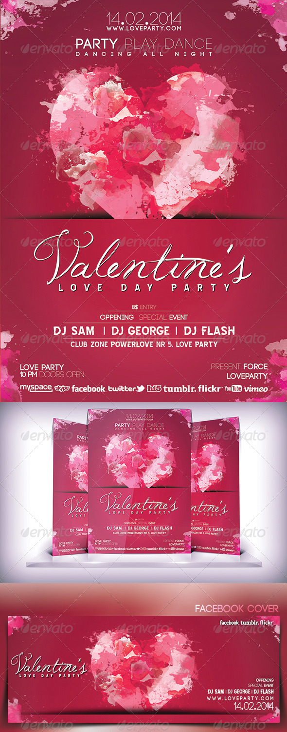 Valentines Love Day Party Flyer - Flyers Print Templates