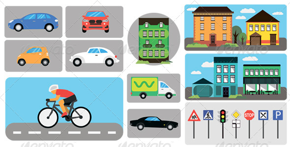 City Infographics, Building, Car, Traffic Signs - Objects Vectors